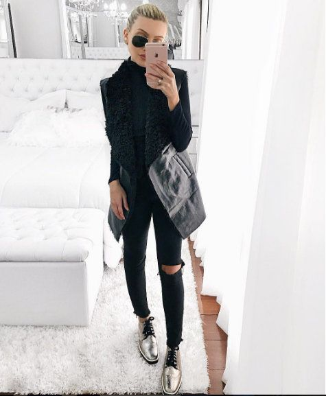look-inspiracao-moda-2016-jeans-preto-rasgado-sapato-oxford-prateado