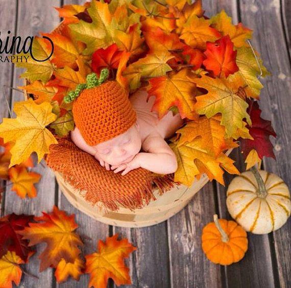 Newborn Crochet Pumpkin Beanie Hat Photo Prop