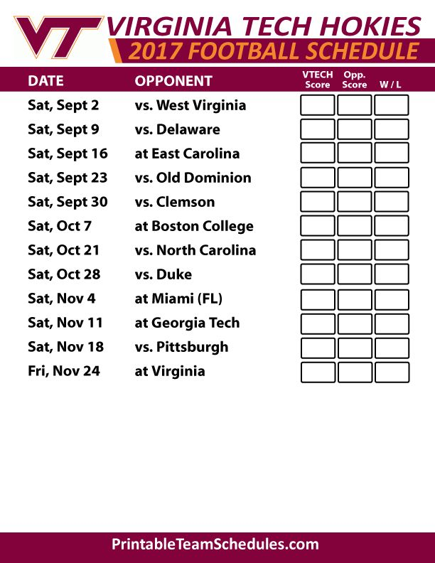 2017 Virginia Tech Hokies Football Schedule