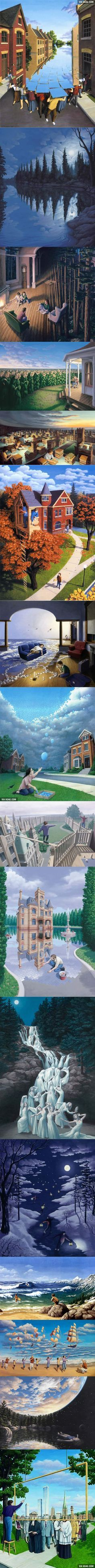 Paintings of Rob Gonsalves that never cease to amaze.