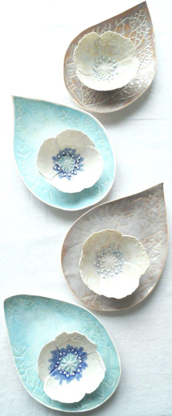 Porzellan Mohnschale und Blattplatte Sets von VanillaKiln #porcelain #vanillakil …