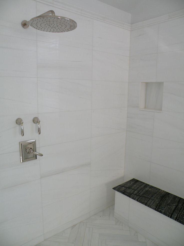 Bianco Dolomiti Kenya Black Stack Bond Pattern Bathroom