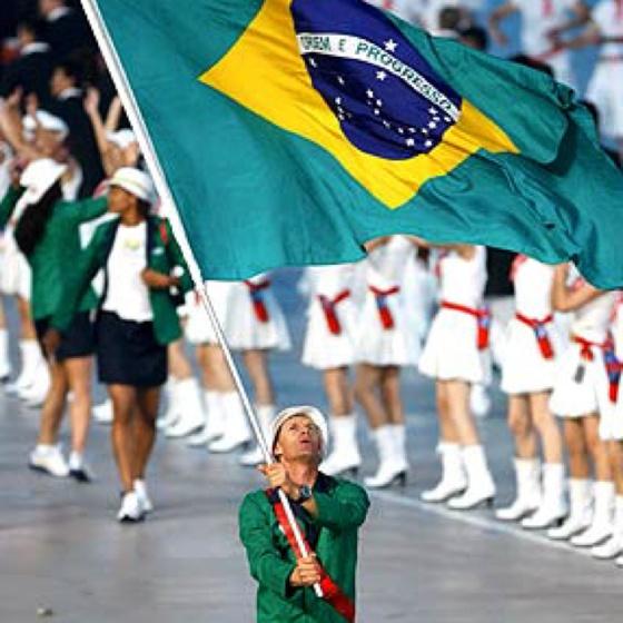 Beijing 2008 Summer Olympics opening ceremony - Robert Scheidt with the Brazilian Flag
