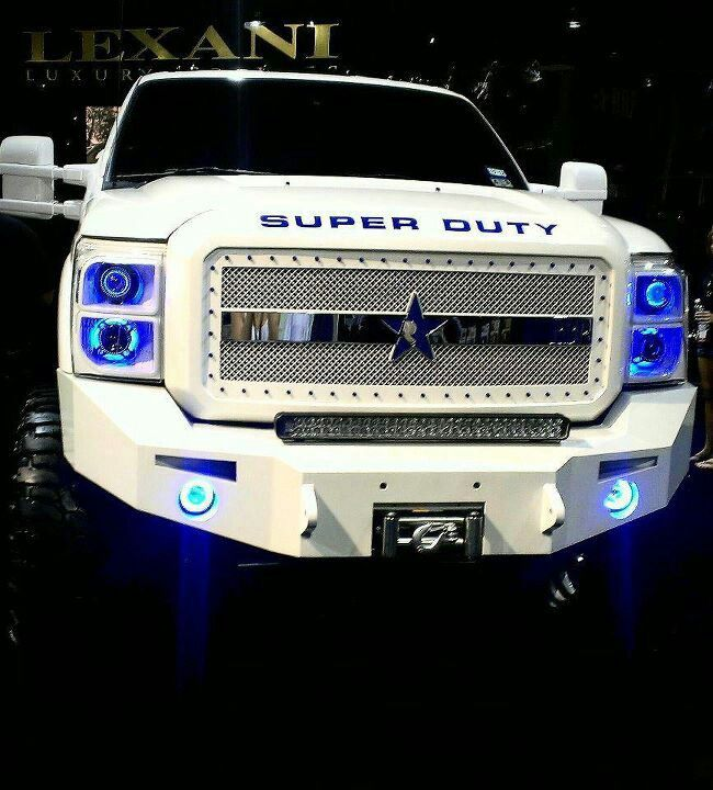 Awesome white superduty with blue. Cowboy colors hell yeah