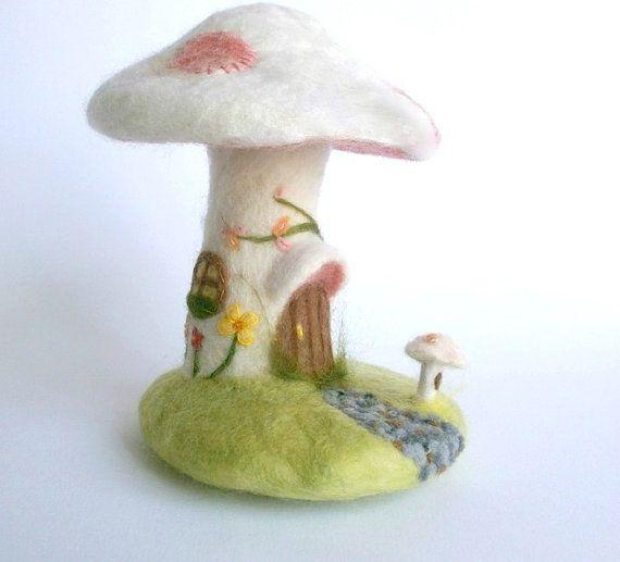 Needle Felted Toadstool mushroom house woodland by jessicakat, £75.00 #etsy #toadstool #needlefelted