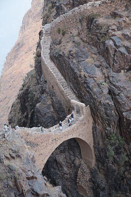 Shaharah footbridge in north-eastern Yemen - by gmhales