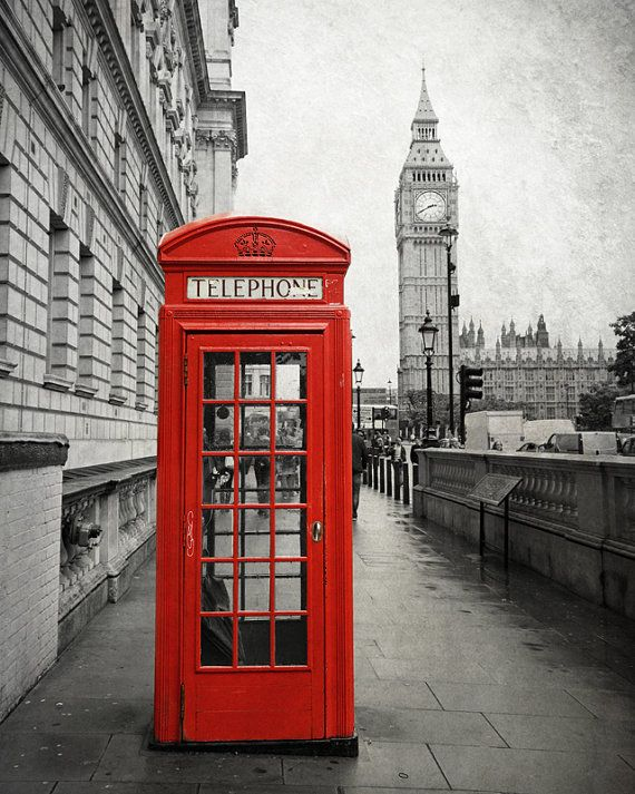 London Phone Box, Big Ben, Black and White Photography, London Photography, London Print, Travel Photo, London Decor, Red, Wall Art