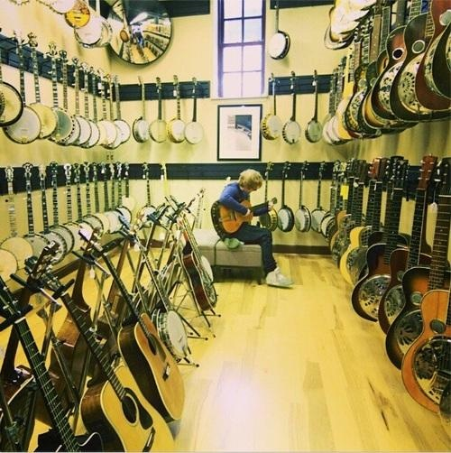Ed in a guitar store. I would probably flip if I walked into Guitar lessons and saw that.