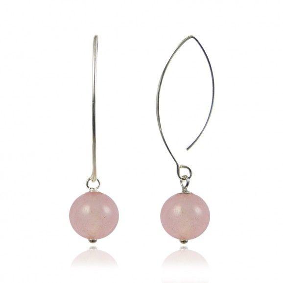 Bijoux pierres semi précieuses argent boucles d'oreilles en quartz rose (pierre semi-précieuse) très fines, longues et class! Petite perle en quartz rose mobile au suspendue à une longue tige argent.