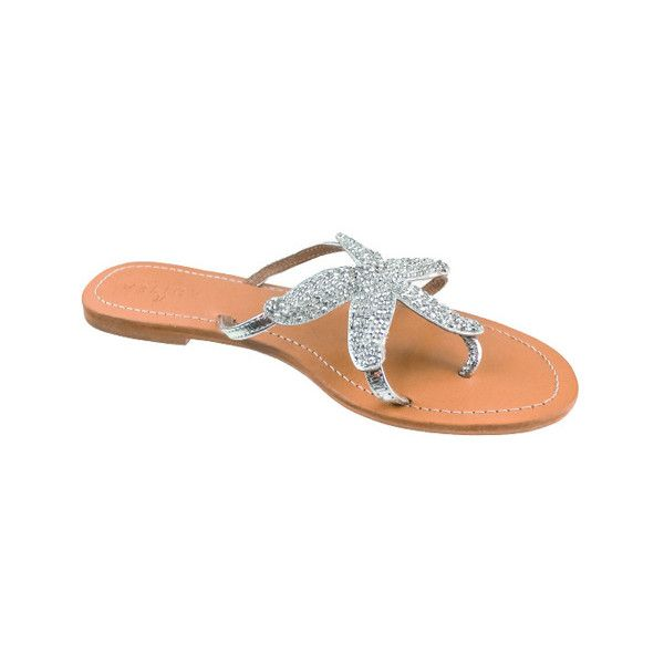 Women's Aspiga Starfish Beaded Sandal ($144) ❤ liked on Polyvore featuring shoes, sandals, casual, silver, thong sandals, leather thong sandals, starfish sandals, beaded starfish sandals and leather sandals