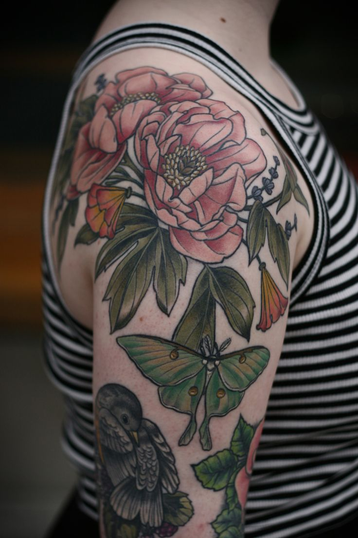 "kirsten holliday works at wonderland tattoo in portland, oregon. ""Fully healed! Pink peonies, luna moth, California poppies and lavender for Allegra. Thank you so much for letting me get healed photos! """