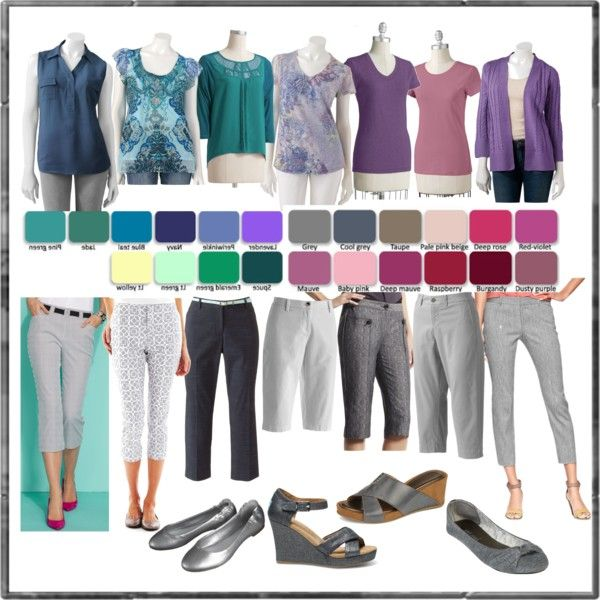 """Grey capris - Cool Summer colors"" by hollyml on Polyvore"