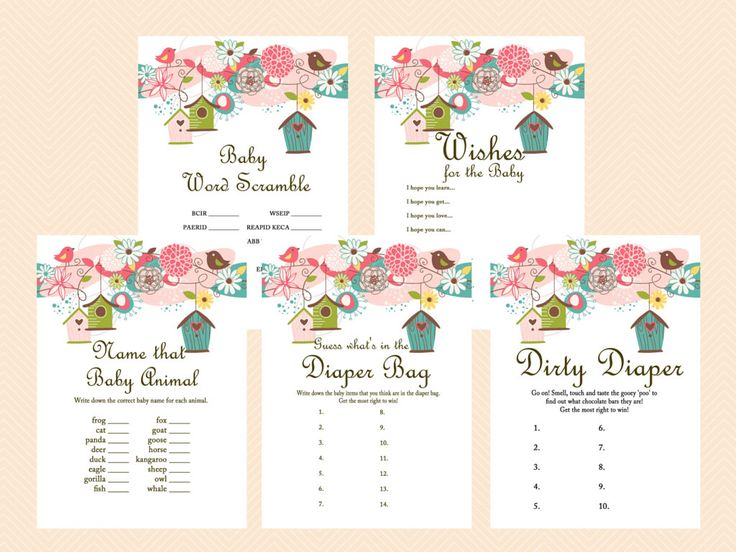 Baby Shower Games Printable Game Pack, Bird Baby Shower Games Printable, Neutral, Floral, whimsical Baby Shower Games Download TLC17 by MagicalPrintable on Etsy https://www.etsy.com/listing/232450469/baby-shower-games-printable-game-pack
