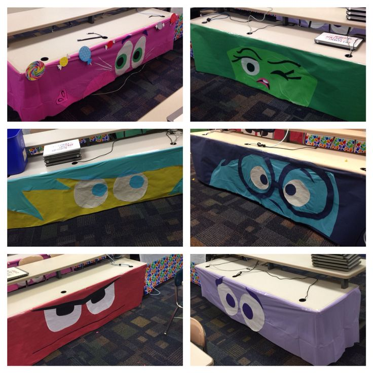 """Disney Pixar's """"Inside Out"""" themed classroom. Character Table Skirts"""