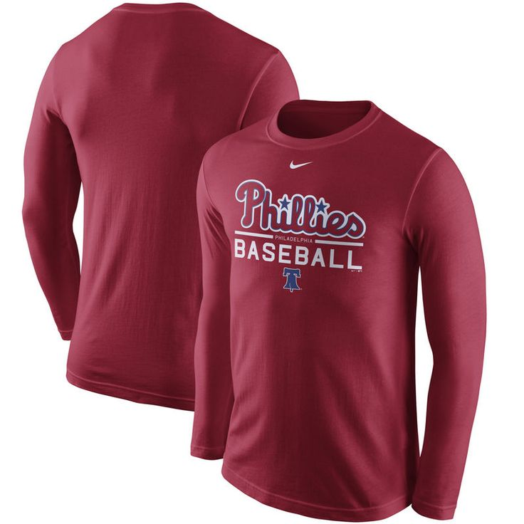 Philadelphia Phillies Nike Practice Long Sleeve T-Shirt - Red