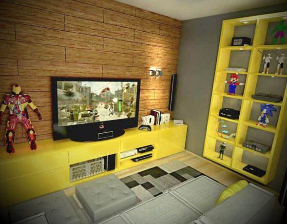 Sala De Tv E De Jogos ~  Decoração de videogame, Quarto gamer e Decoração da sala de jogo