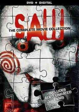 Saw: The Complete Movie Collection (DVD)--How much terror is too much? Throw the ultimate horror marathon with this release featurng Saw, SAW II, SAW III, SAW IV, SAW V, SAW VI, and SAW: THE FINAL CHAPTER, and see how much Jigsaw you can take before your nerves are completely shot.