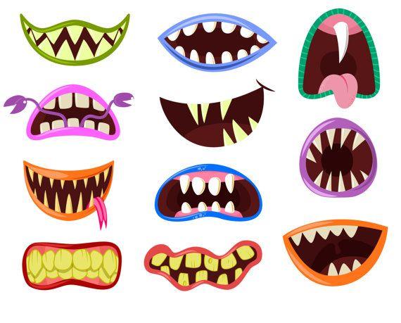 Monster mouth clip art, Monster clipart, Halloween clipart, Cute Monsters Mouths Digital Clip art Set, Monster Grin clipart