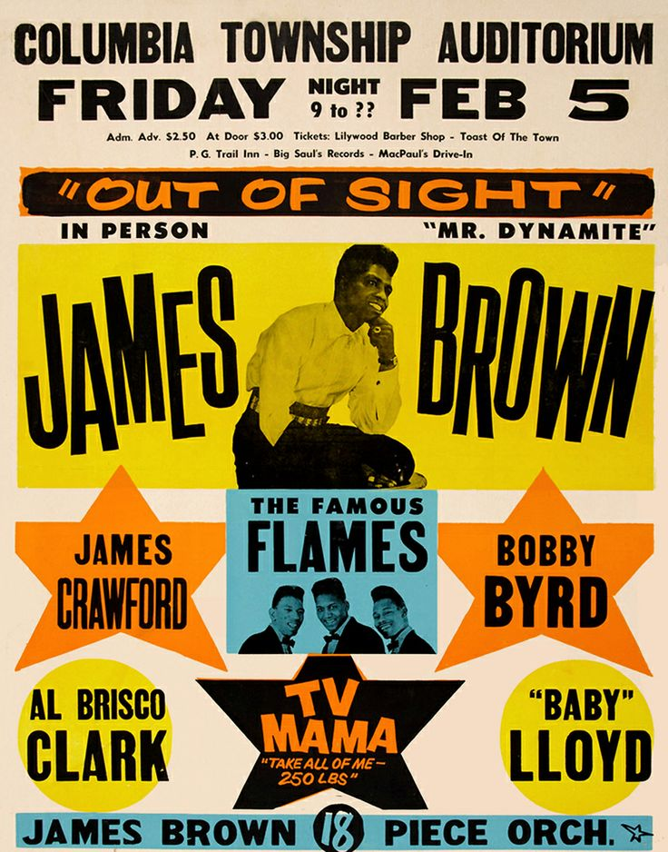 1964 James Brown Concert Poster (Columbia Township, OH)