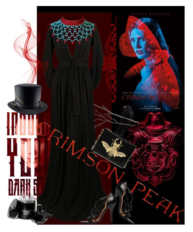 """Indulge Your Dark Side with Crimson Peak : Contest Entry"" by iraavalon ❤ liked on Polyvore featuring Yves Saint Laurent, Maison Gripoix, Comme des Garçons and vintage"