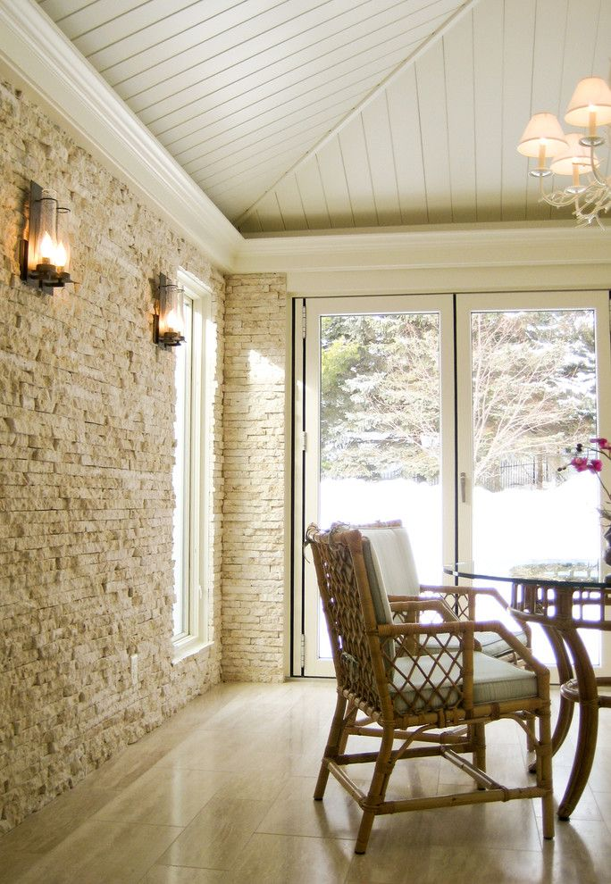 Stone accent wall porch contemporary amazing ideas with wood ceiling wall lighting