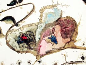 """""""An uneasy silence"""" 2010, gel pen and traditional Chinese pigments on rice paper 