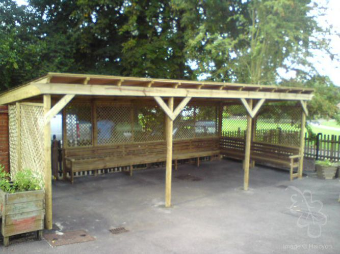 Large Commercial Wooden Outdoor Seating For Many People