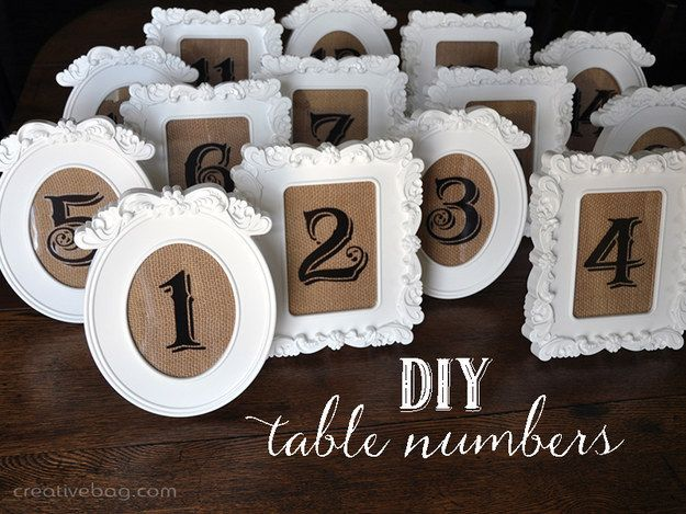 Table Numbers Made with Clear Stickers | 25 Lazy Couple Wedding DIY Ideas
