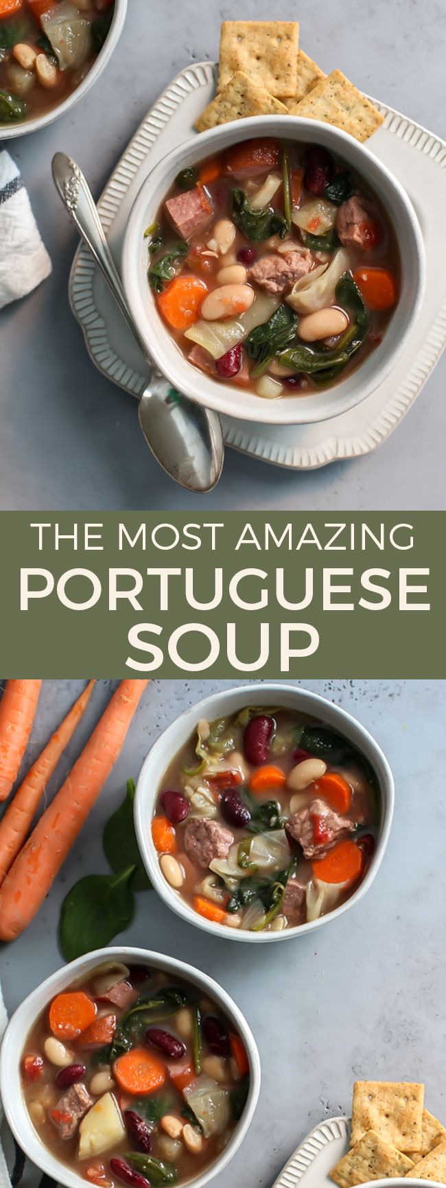 My Pal's family's Portuguese Soup is seriously one of the best soups I've ever had! It is so flavorful and hearty I had to get the recipe to share on the blog with you. Gluten-free recipe.   fitmittenkitchen.com #souprecipes #glutenfreerecipes #glutenfree #cleaneating