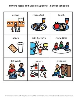 Picture Icons And Visual Supports School Schedule Set 1