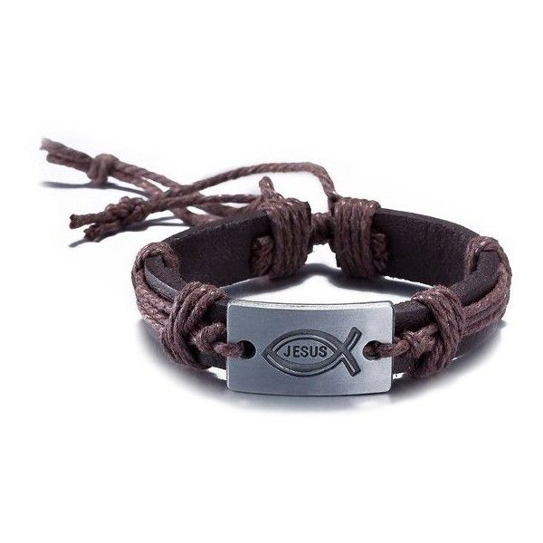 Faux Leather Woven Engraved Jesus Bracelet (2.98 BAM) ❤ liked on Polyvore featuring men's fashion, men's jewelry, men's bracelets, mens leather braided bracelets, mens engraved bracelets and mens woven bracelets