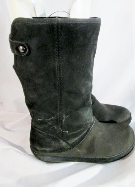 f78a50675 Womens Ladies CROCS Berryessa Tall Black Suede Leather Boot 9 Faux Fur  Lining