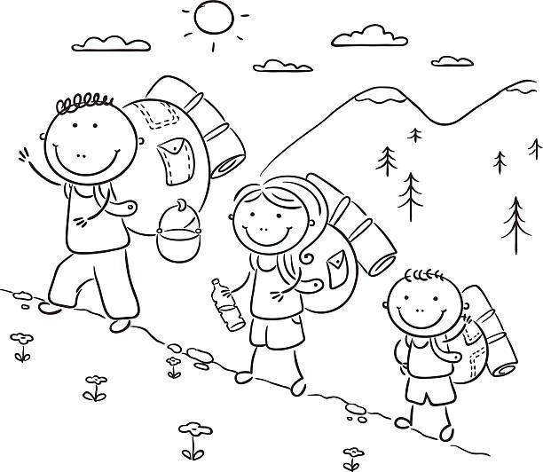 Cartoon Family Hiking In The Mountains Cartoon Cartoon