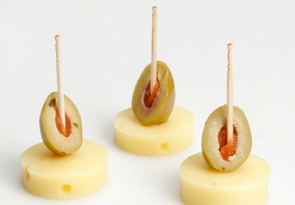 green pimento olive and cheese starter