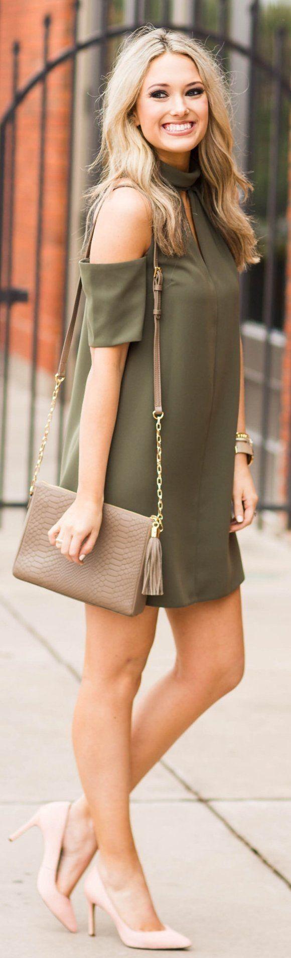 Olive Open Shoulder Dress / Light Pink Pumps / Grey Shoulder Bag... - Street Fashion