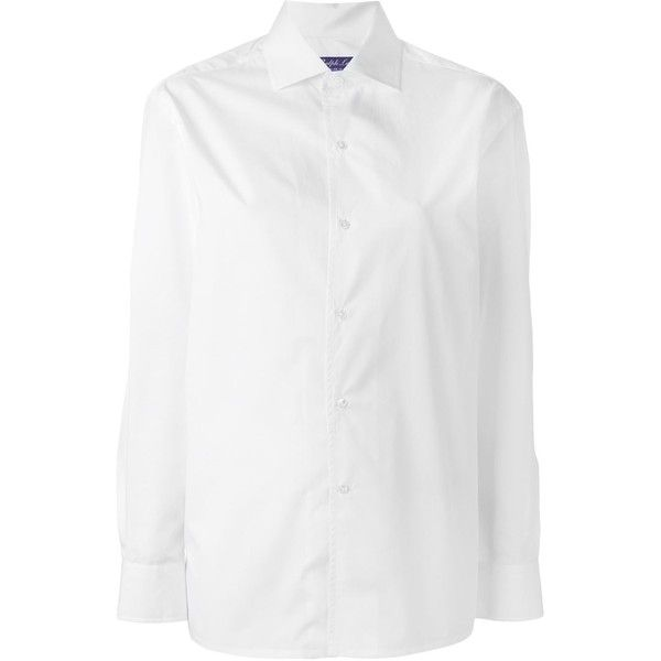 Ralph Lauren Collection classic button down shirt ($445) ❤ liked on Polyvore featuring tops, ralph lauren, shirts, white, white cotton tops, button up shirts, white button up top, white button up shirt and button up top