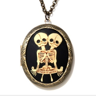 Miss Atomic - Twins Cameo Locket necklace Tattoo Idea