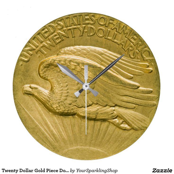 Twenty Dollar Gold Piece Double #Eagle Money 1907 #ChristmasGiftIdeas #Clock