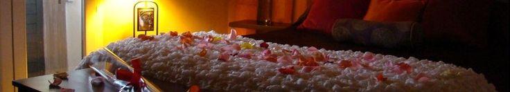 Chambre Zen - Véranda de 10m² avec son jacuzzi, douche italienne avec colonne hydro-massante, parure en satin, petit déjeuner en chambre, décoration en pétales artificiels, bougies électriques et musique d'ambiance