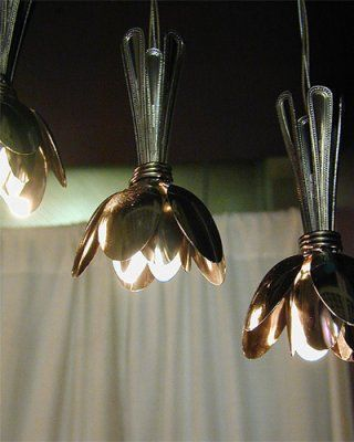 Blossom spoon lights repurposed DIY idea creative decor lamp metal Lampara hecha