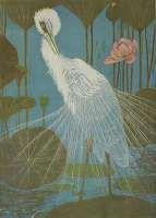Silver Heron with Lotus (Zilverreiger met Lotus) -  VERSTIJNEN