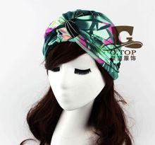 2016 мода роскошные дивы цветочный лист отпечатано женщины тюрбан леди хиджаб головные уборы повязка на голову Turbante для женщин(China (Mainland))
