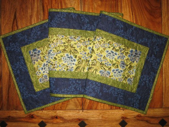 Blue Green Asian Inspired Quilted Table Runner By TahoeQuilts