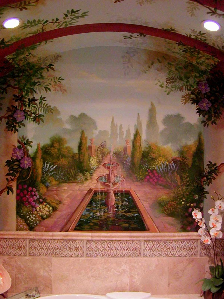 Italian Garden Bath Bathroom Wall Art Mural Painting