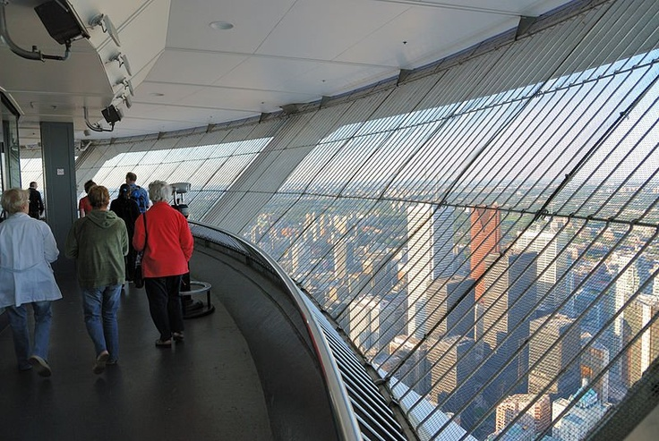 (Observation deck of CN Tower)  If you get a chance try to climb the tower, it's a great view of Canada .