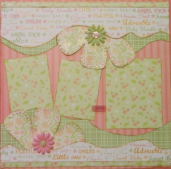 Delightful 12x12 Premade 2 Page Scrapbook Layout by 2ScrappyGals