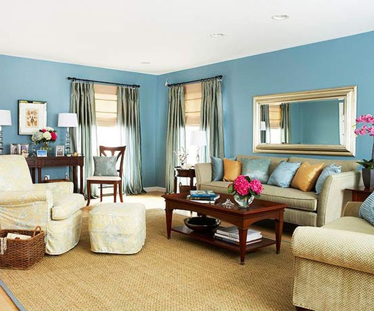... Get Calming Effect In The Living Room By Applying Blue Living Room  Walls : Simple Yet Cozy Living Room With Soft Blue Wall Paint With Light Brown  Sofa ... Part 88