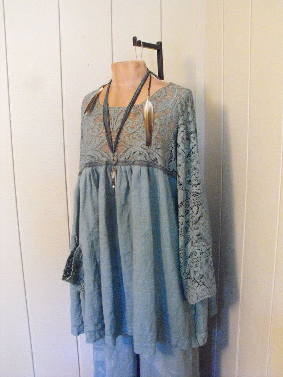 RESERVED for Tina Vintage Lace Linen Silk Romantic Hand Dyed Tunic Dress Aqua Seas OSFM