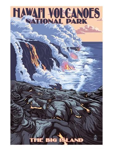 The Big Island, Hawaii - Lava Flow Scene Poster by Lantern Press at AllPosters.com