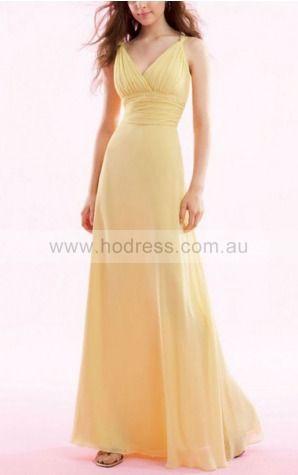 A-line V-neck Floor-length Chiffon Empire Evening Dresses gt1439--Hodress